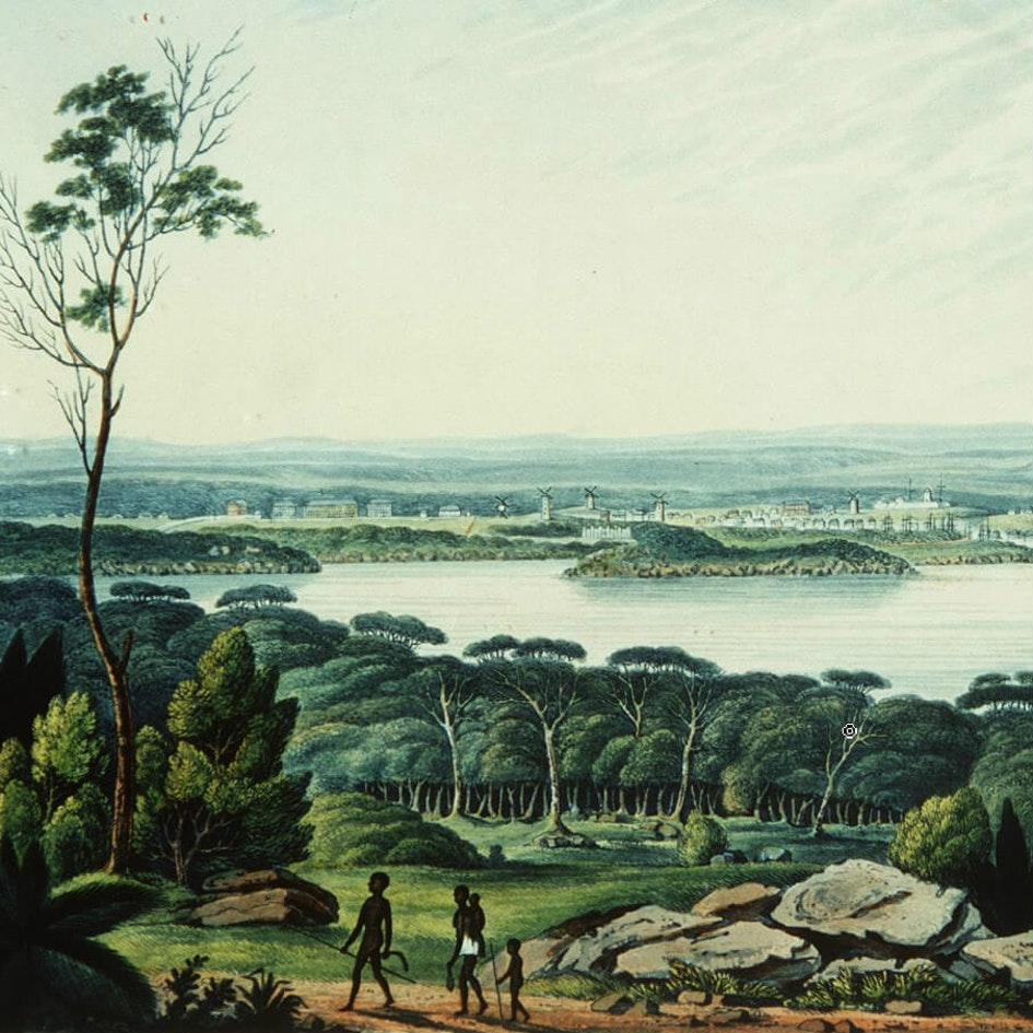 View of Sydney Cove, New South Wales, from an original picture in the possession of Isaac Clementson Esqr., 1802 / drawn by E. Dayes from a picture painted at the colony, engraved by F. Jukes (State Library of NSW - V1/1802/1)