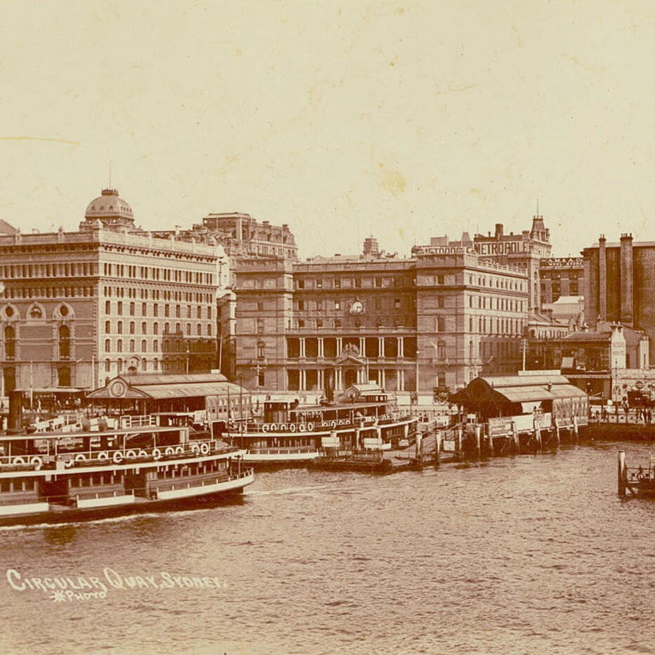 Circular Quay, Sydney [showing wharves and Alfred Street buildings] / Star Photo Co.
