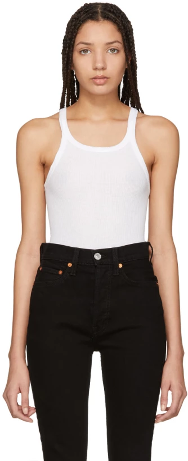 How to wear the basic white tank top in a stylish way