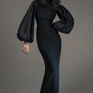 Trend alert — long black dress with long sleeves