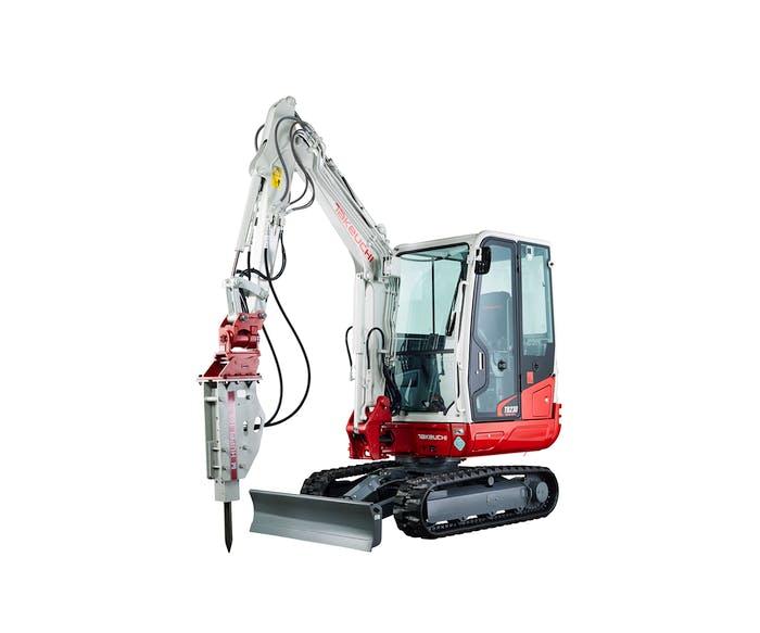 bagger takeuchi tb230 mit hydraulikhammer aufgestellt
