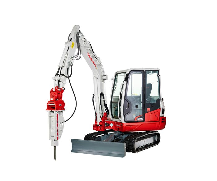 minibagger takeuchi tb240 mit hydraulikhammer