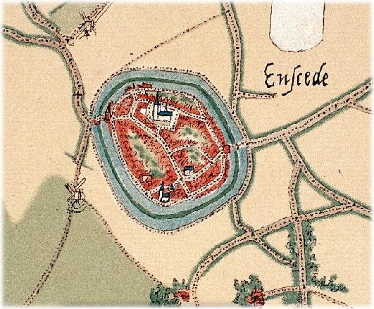 Oude kaart van Enschede