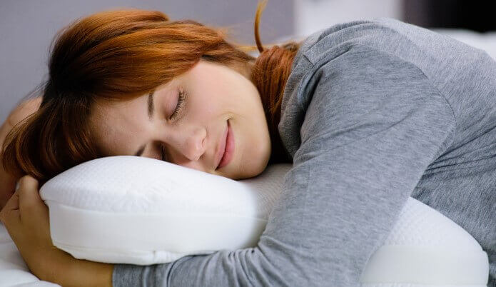 Woman sleeping on a perfect pillow