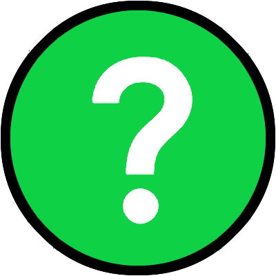 Green circle with black border and a white question mark in the middle