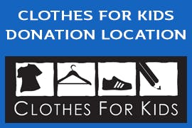Clothes for kids drop off location logo with ESC Mattress Center's sleeping panda logo