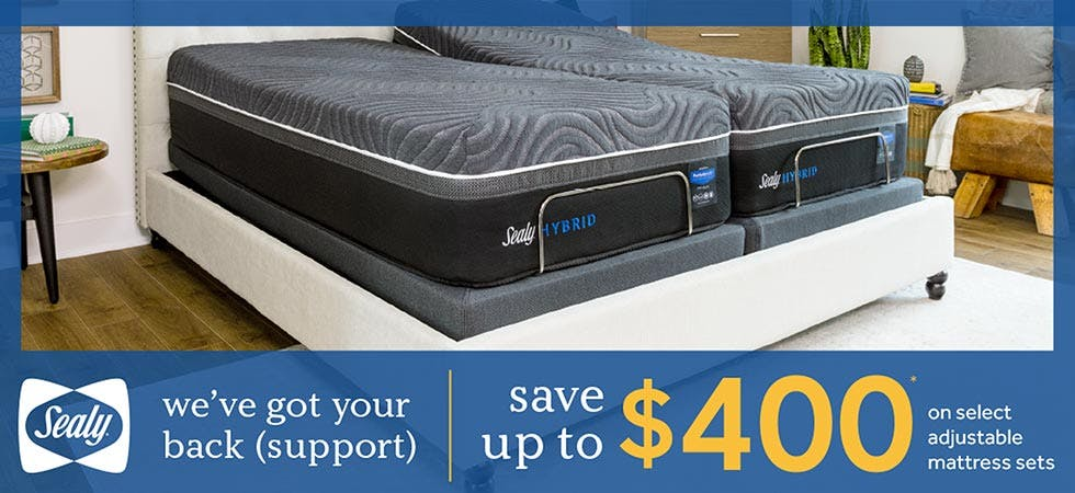 Save up to $400 on Sealy Adjustable mattress sets during our Presidents Day sale.