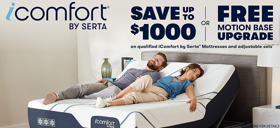 Save up to $1000 or free Motion Base upgrade 4th of July Savings iComfort by Serta