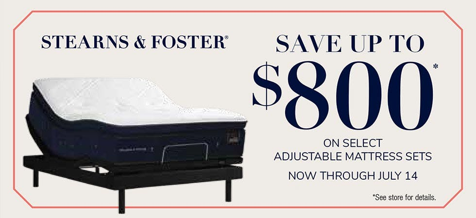 Stearns and Foster Summer Savings up to $800