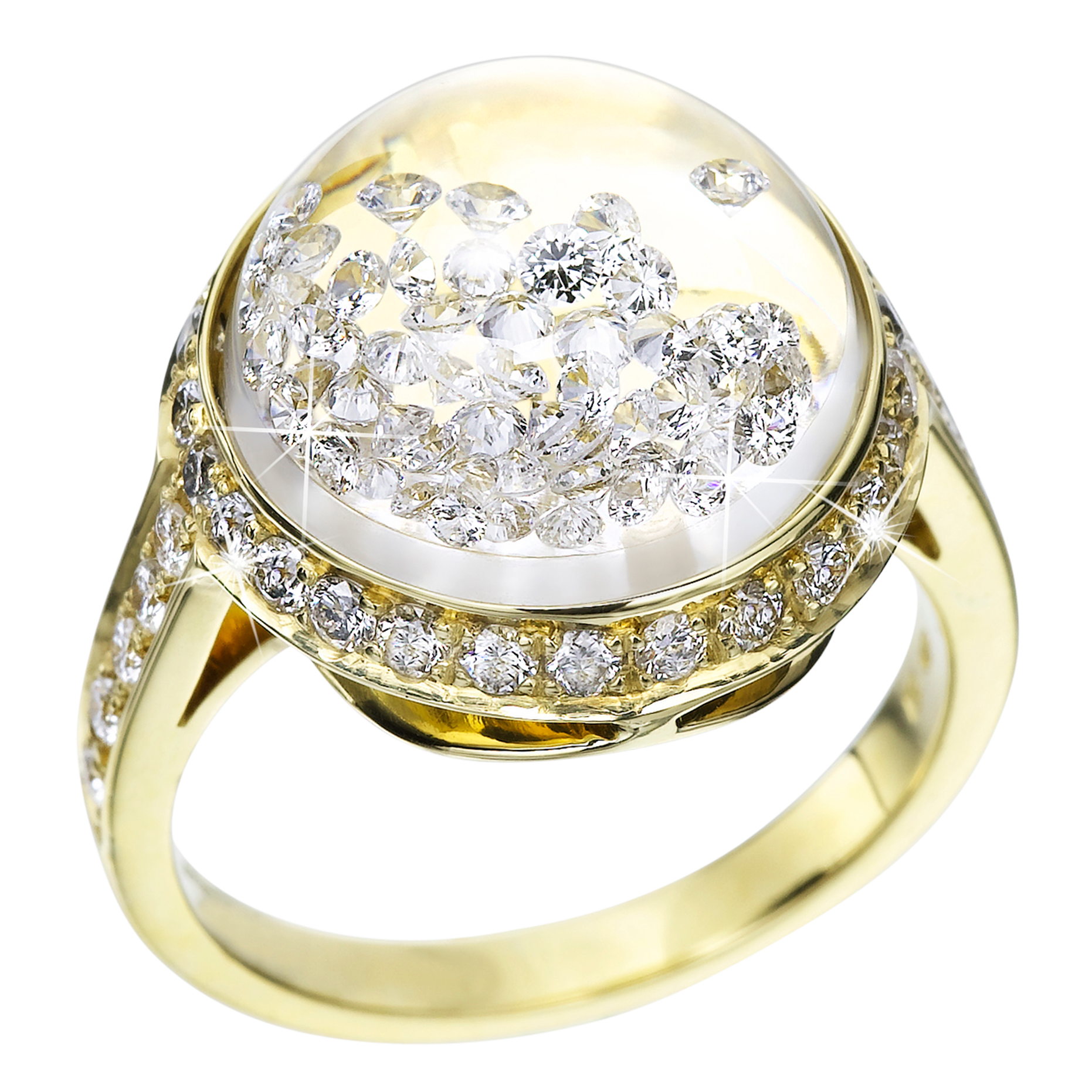 Royal Asscher - Stars Collection Pave Ring Medium Yellow Gold