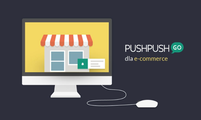 """A computer with a wallpaper showing the store and the words """"PushPushGo for e-commerce""""."""