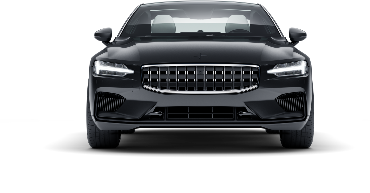 Front view of black Polestar 1