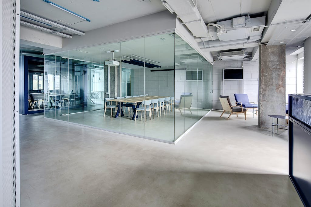 Modern office with glass walls.
