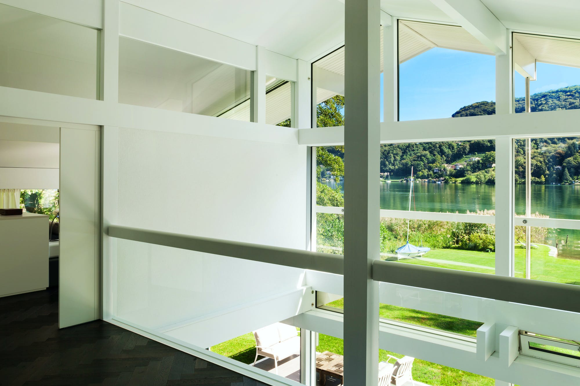 Home with tempered glass windows.