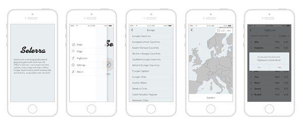 Screenshots från Seterras app