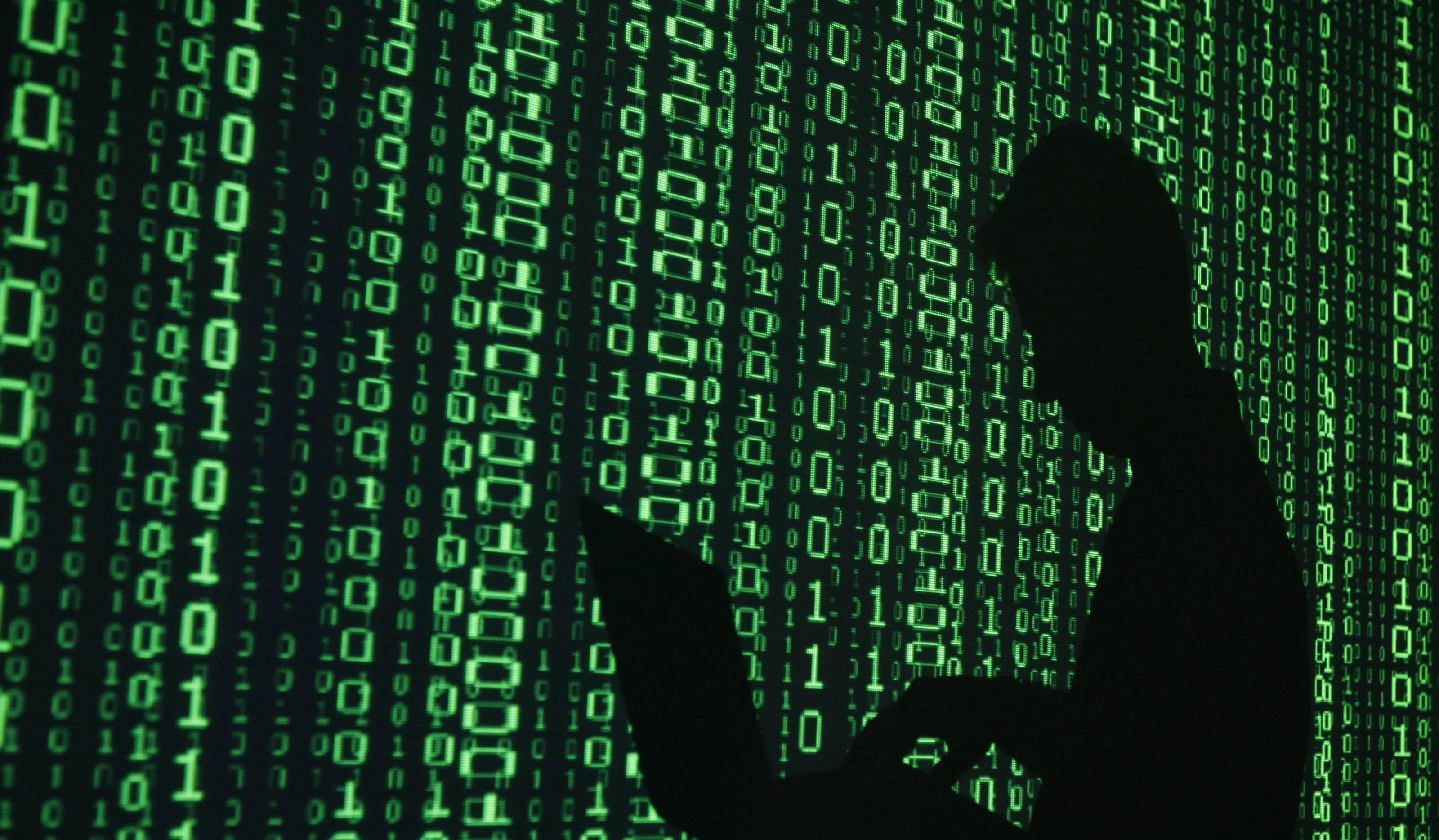 Bild på grön Matrix-lik kod