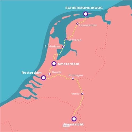 Wakkere wegwerpers route suptocht door Nederland
