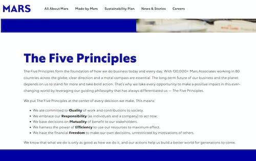 Vijf principes Mars comapny