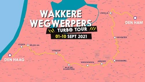 Route Wakkere Wegwerpers Turbo Tour 2021 over de Regge, Vecht, IJssel, Rijn, de Wijde AA en de Vliet naar Den Haag