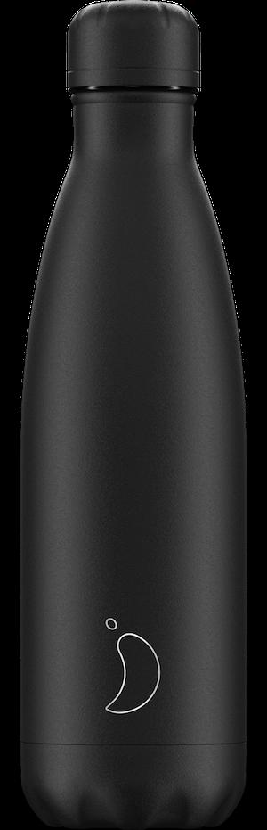 Chilly's Bottles Monochrome All Black   Reusable Water Bottles