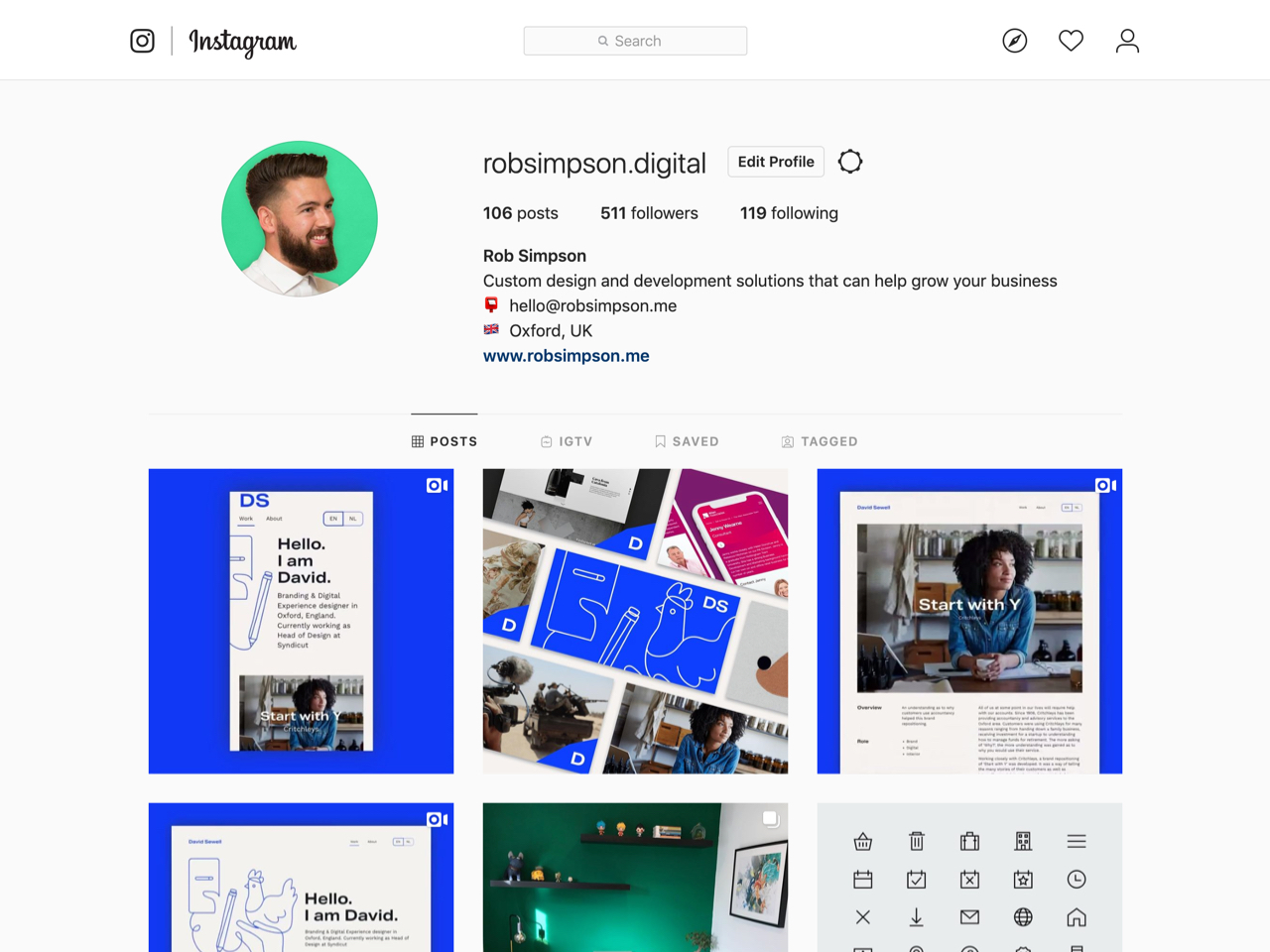 Rob Simpson Instagram profile page