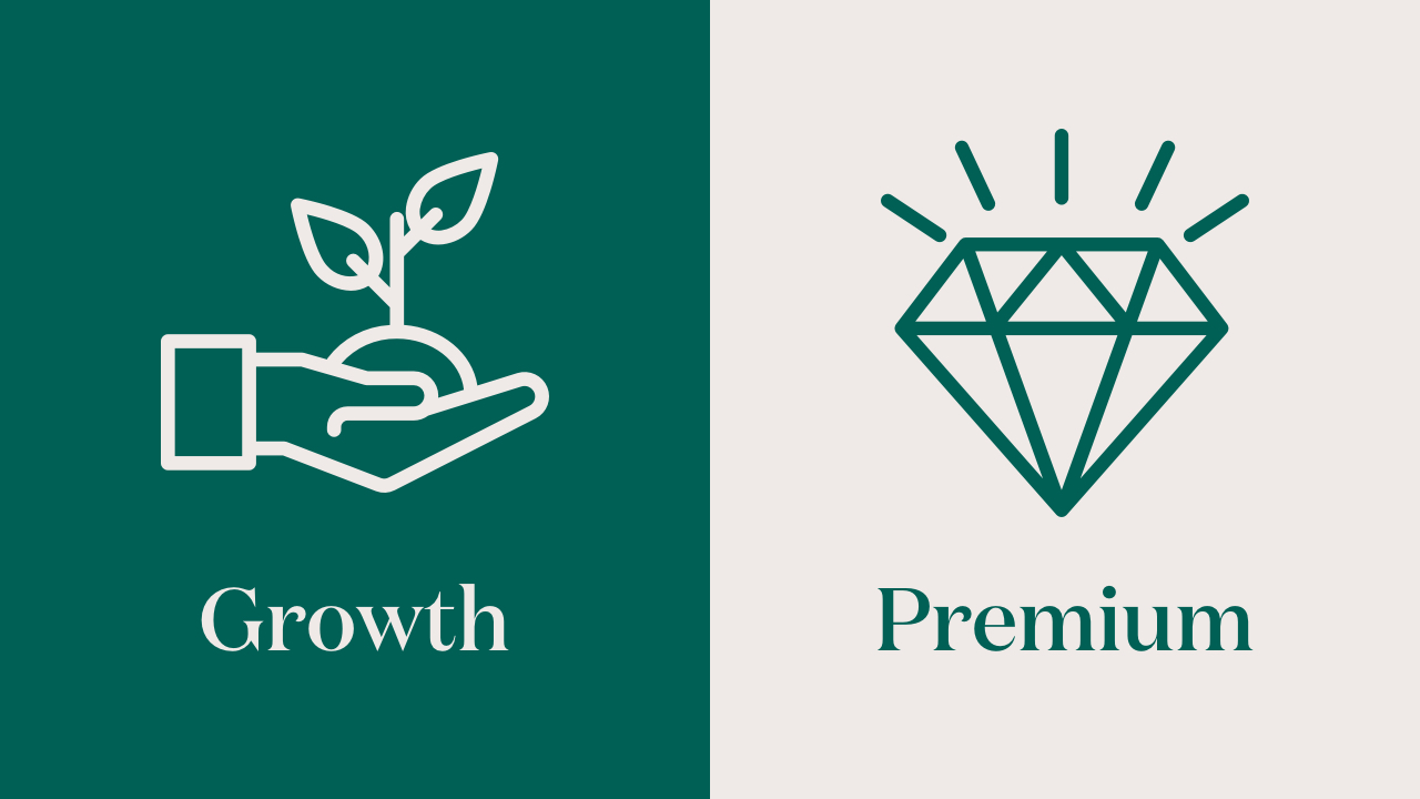 Hand holding growing plant signifying growth and sparkling diamond signifying premium – illustration