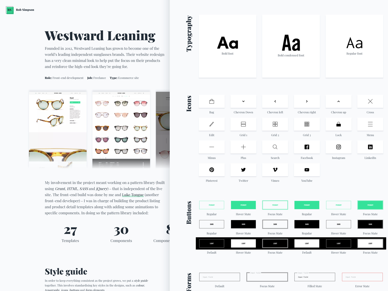 Old website Westward Leaning case study