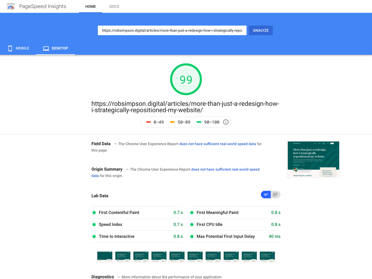 Google page speed performance results for robsimpson.digital