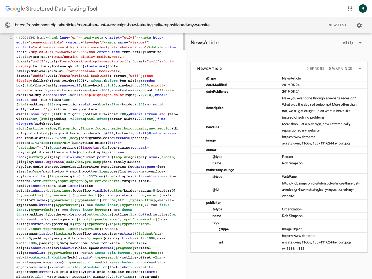 Google structured data testing tool results for robsimpson.digital blog article page