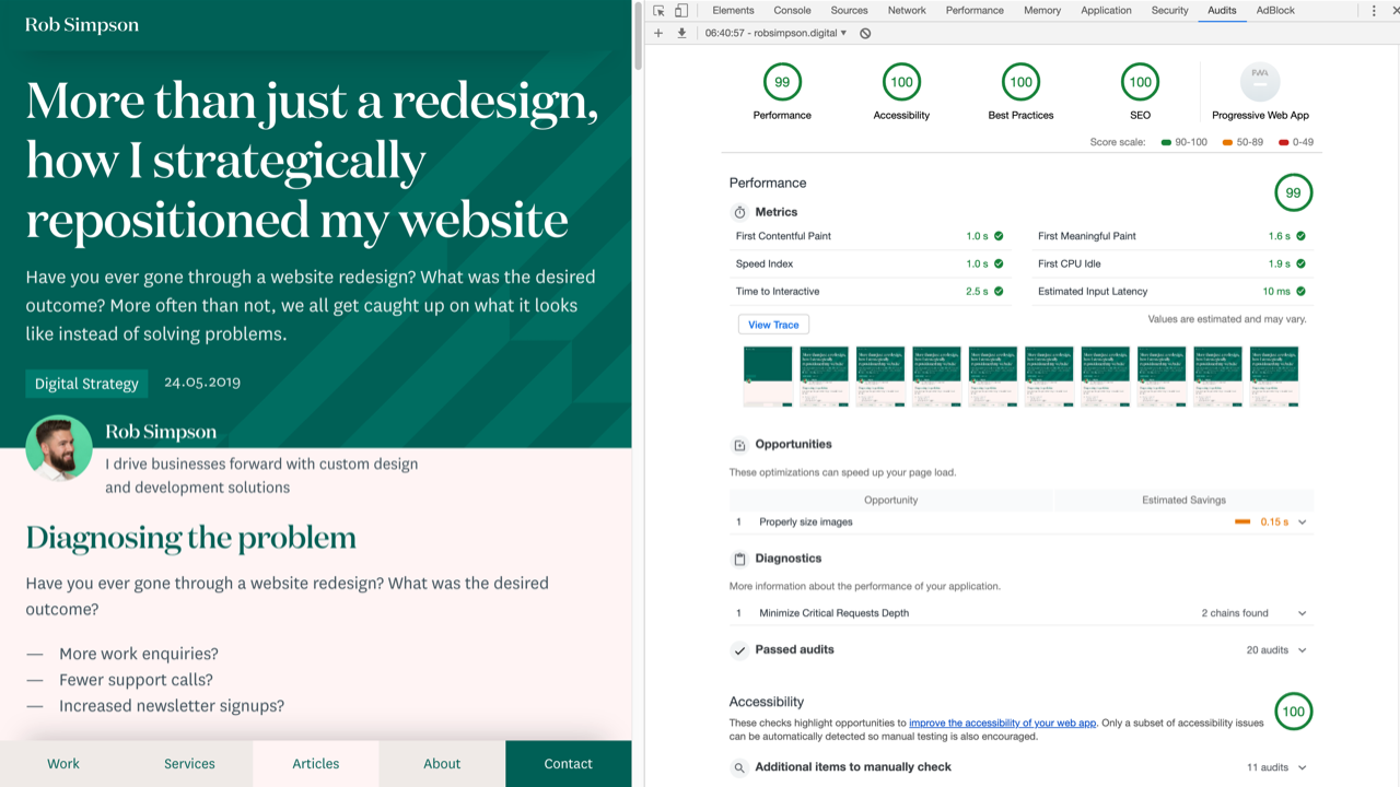 Google Lighthouse test results for robsimpson.digital