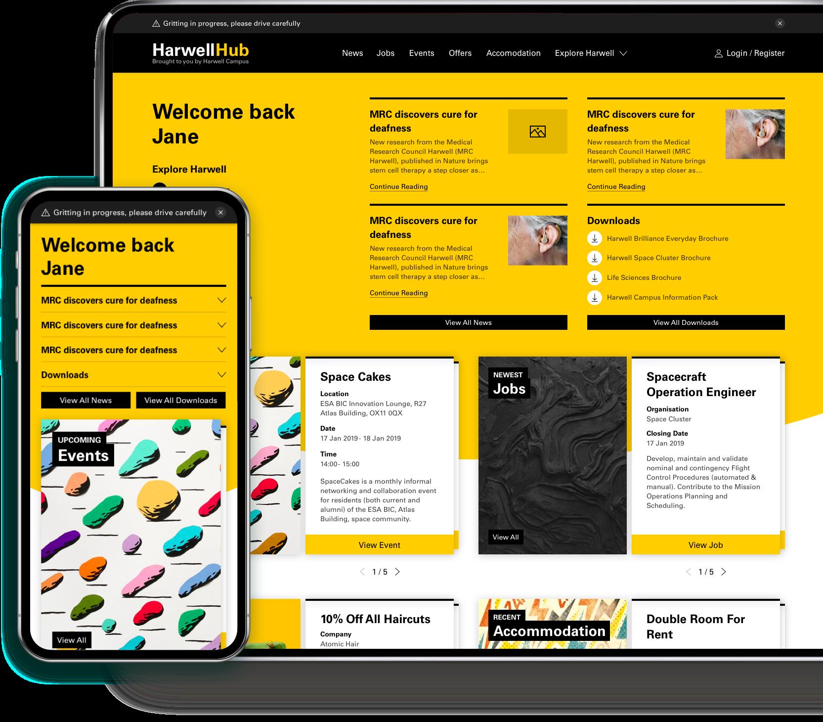 Harwell Hub desktop and mobile website design