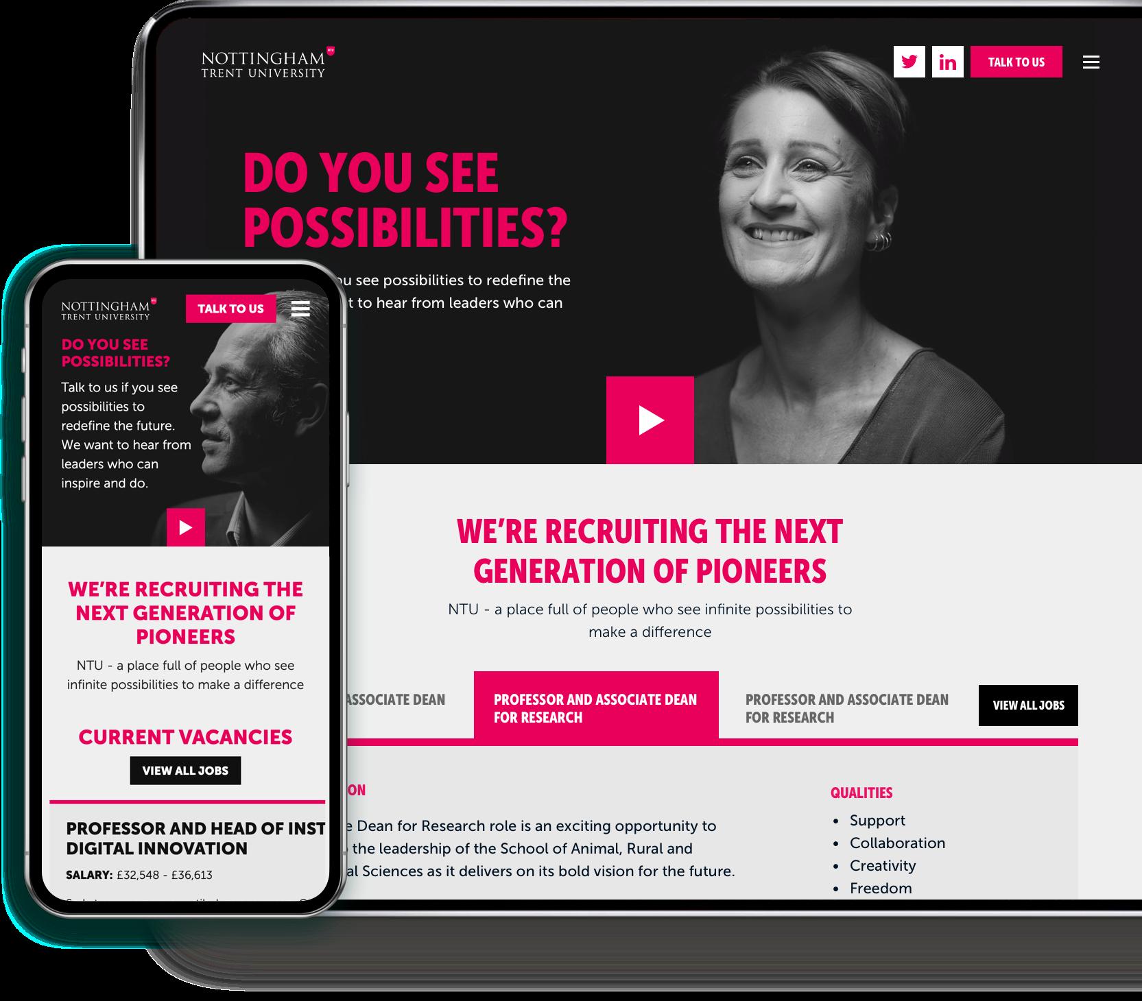 Nottingham Trent University campaign desktop and mobile website design