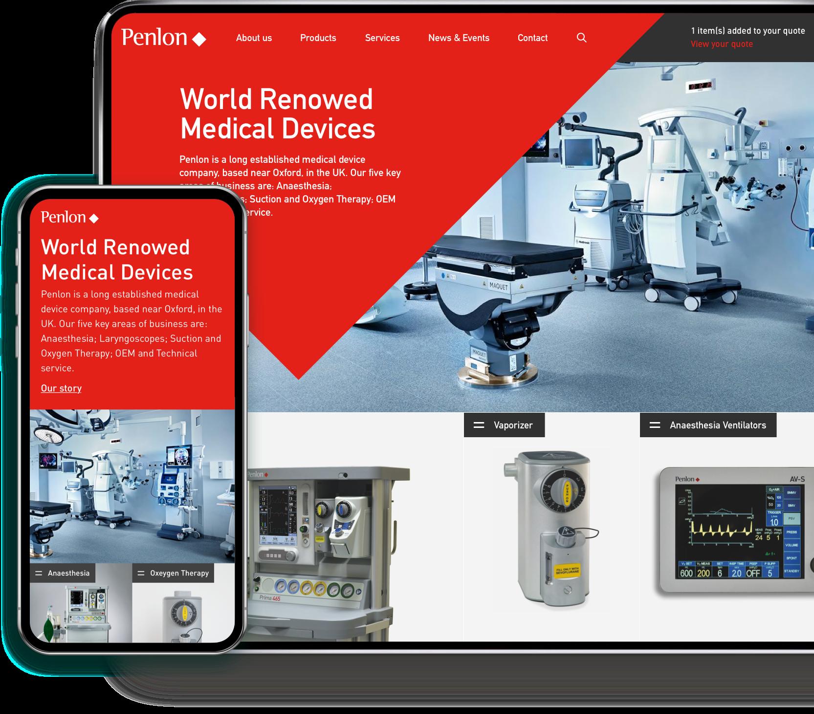 Penlon desktop and mobile website design