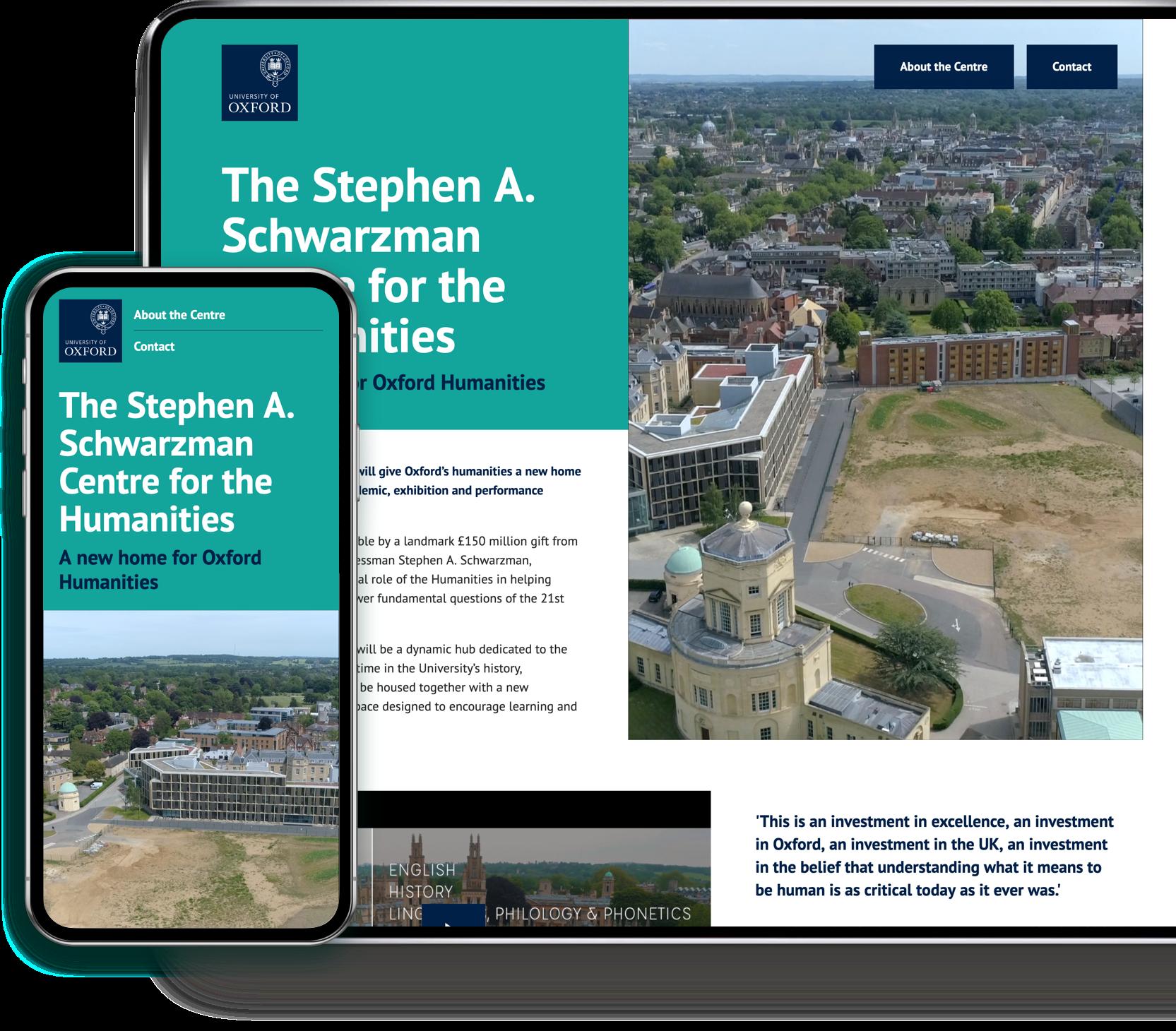 Oxford University Schwarzman centre desktop and mobile website design