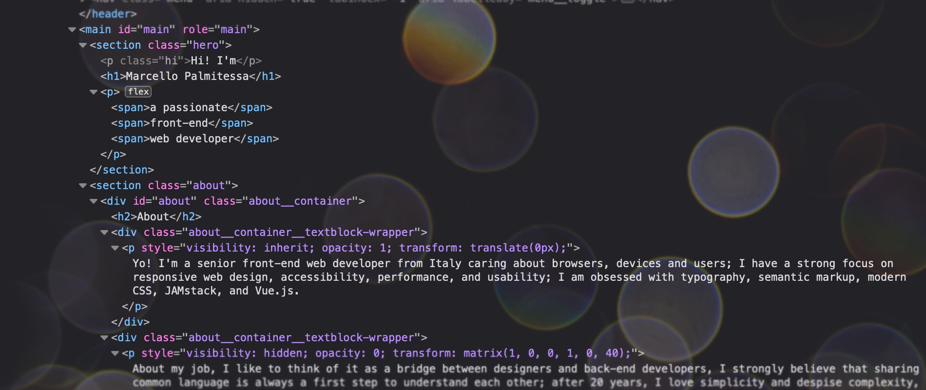 html code from my personal website