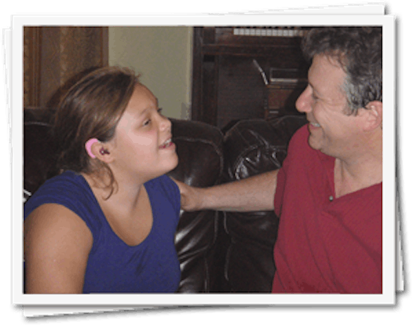 The founder of Ear Gear with his daughter
