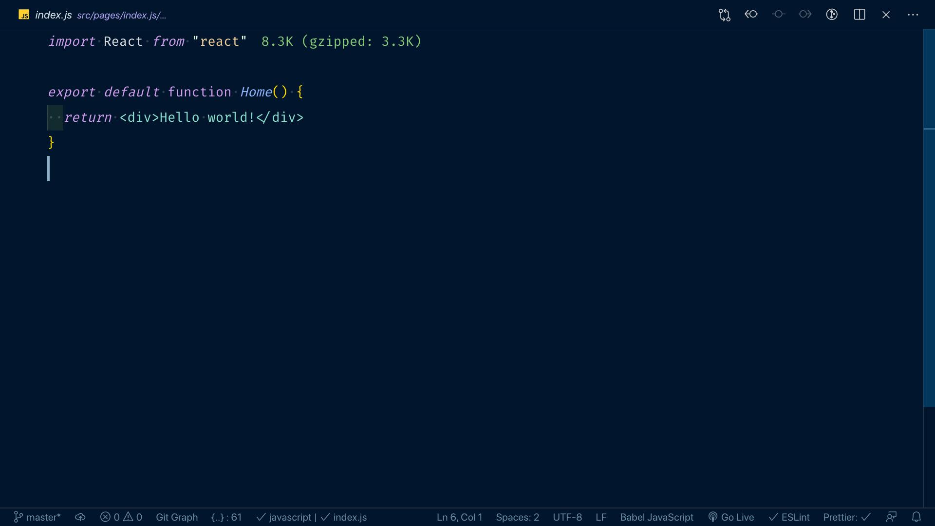 Kod komponentu strony głównej