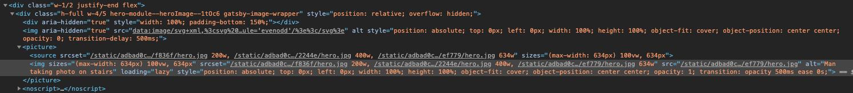 Wygenerowany, przez Gatsbiego, kod obrazka, który zawiera zoptymalizowane wersję obrazków dla różnych rozdzielczości