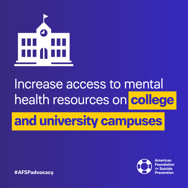 Increase access to mental health resourcs on college and university campuses