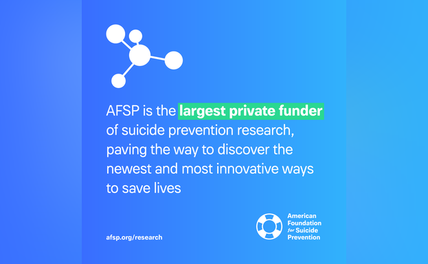 AFSP is the largest private funder of suicide prevention research