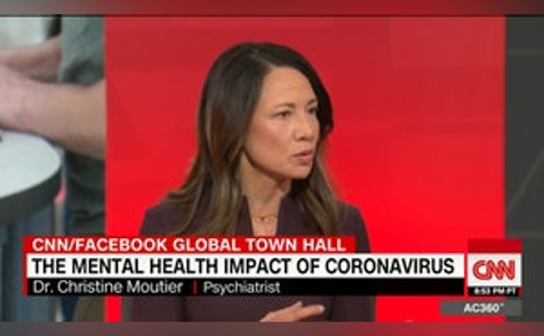 Dr. Christine Moutier appears on Anderson Cooper 360