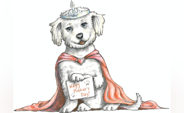 Doodle of dog dressed as Guinevere