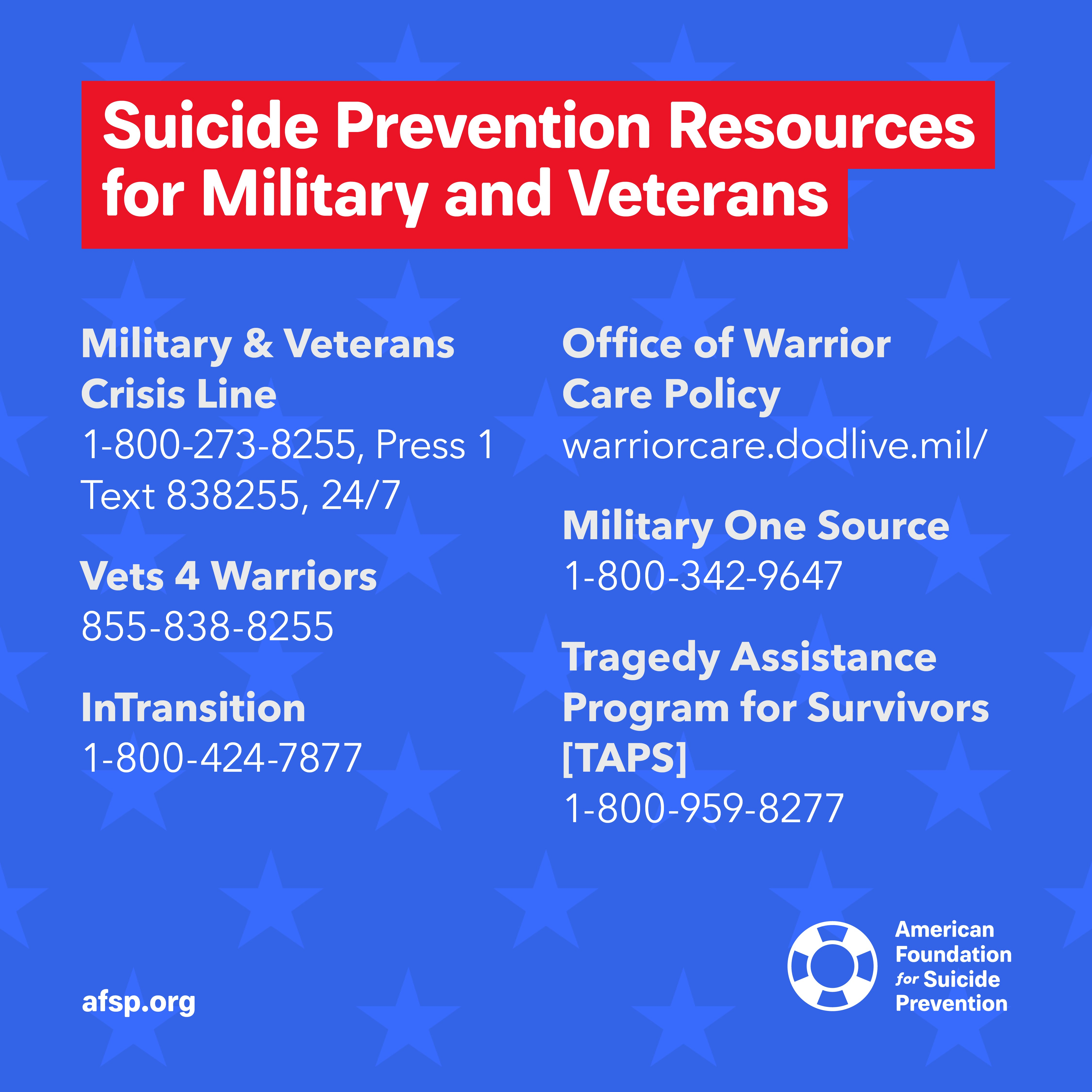 Suicide Prevention Resources for Military and Veterans