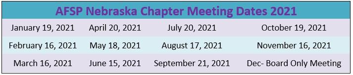 List of Nebraska chapter meeting updates for 2021