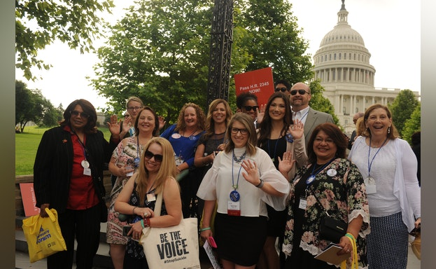 Group of advocates in front of capitol