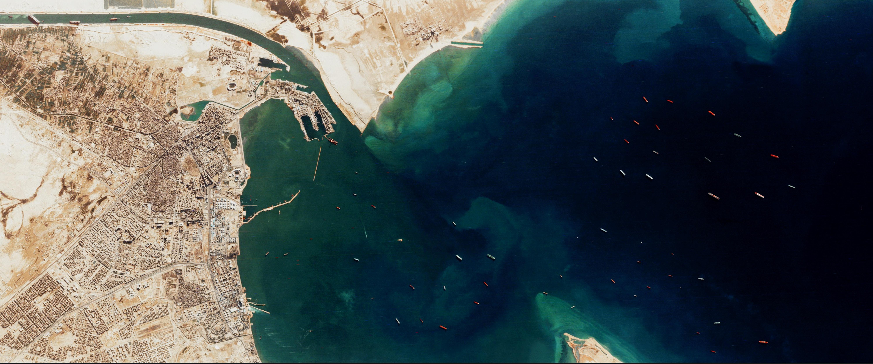 Ships Wait Outside Suez
