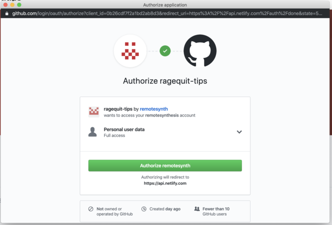 authorize permisions with GitHub