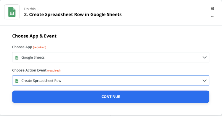 configuring Google Sheets in Zapier