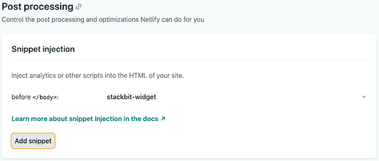 Netlify snippet inject