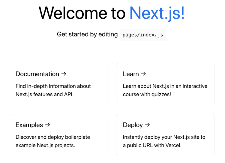Next.js boilerplate home page